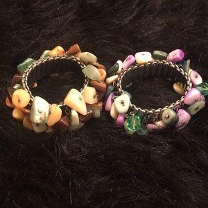 Jewelry - 2-Vintage Metal and stone stretch Bracelets